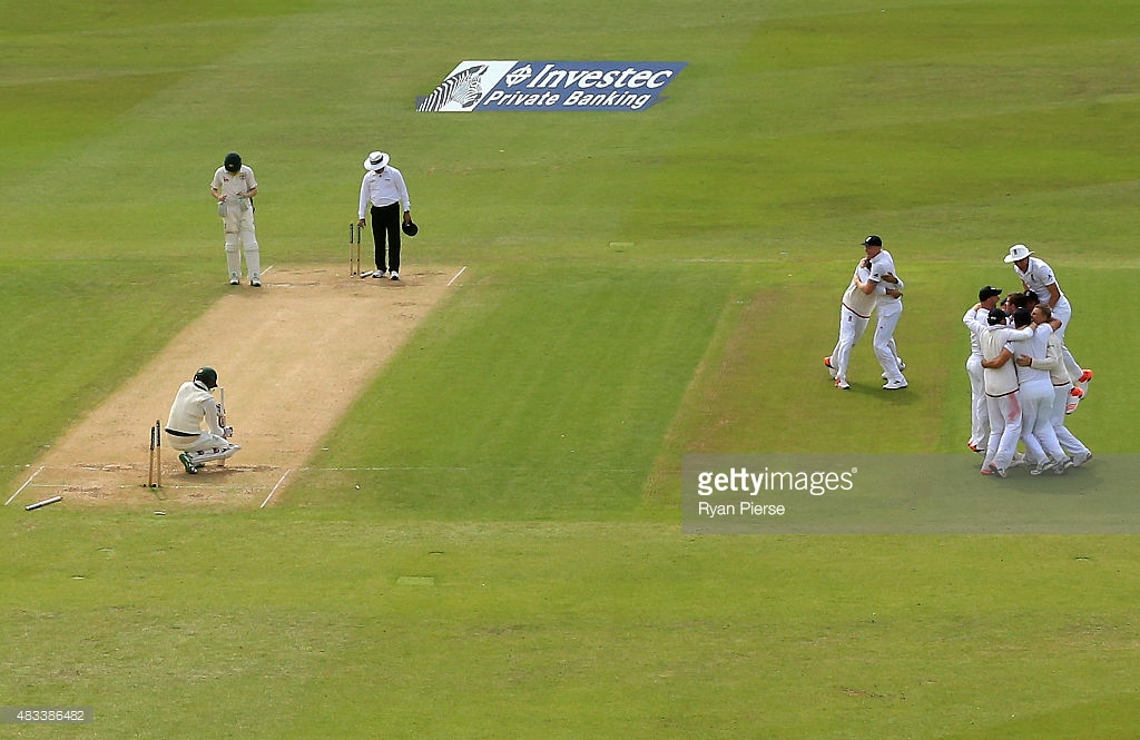 THE FLIP SIDE: Nathan Lyon looks dejected after Mark Wood bowls him to seal the Ashes for England