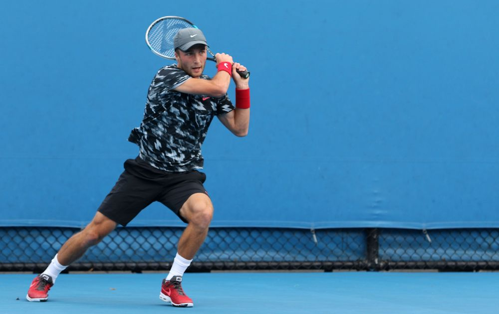 Liam Broady pictured in 2015 at the Australian Open