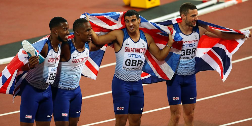 Great Britain's gold medal winning 4x100m men's team at the IAAF World Championships, London 2017