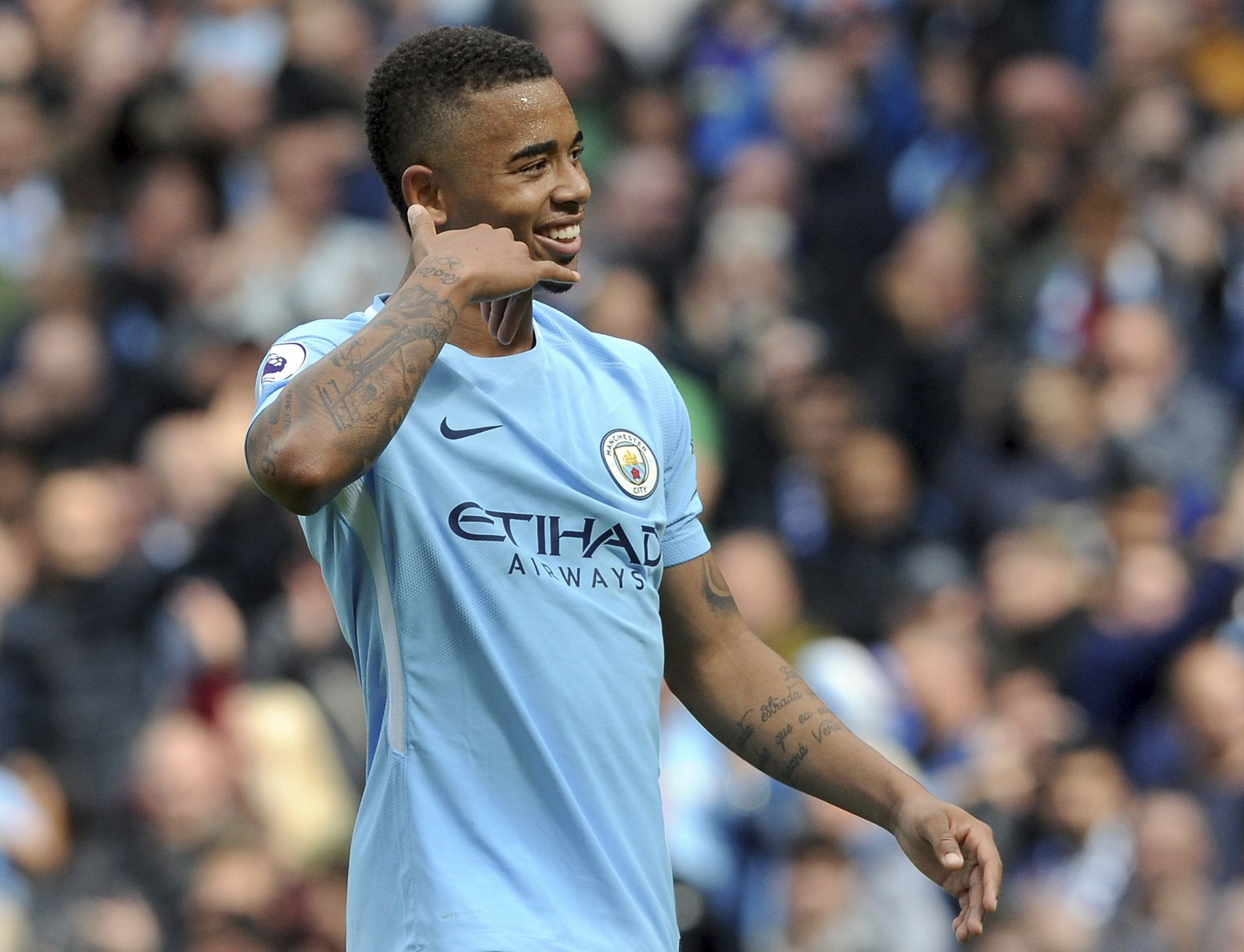 Gabriel Jesus Manchester City v Liverpool, Premier League 2017