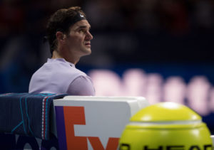 Roger Federer in the semi-final of the 2017 Nitto ATP Finals, London