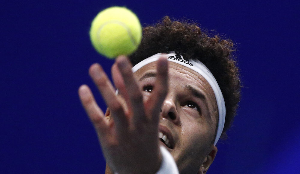 Jo-Wilfried Tsonga in the Davis Cup final between France and Belgium, 2017