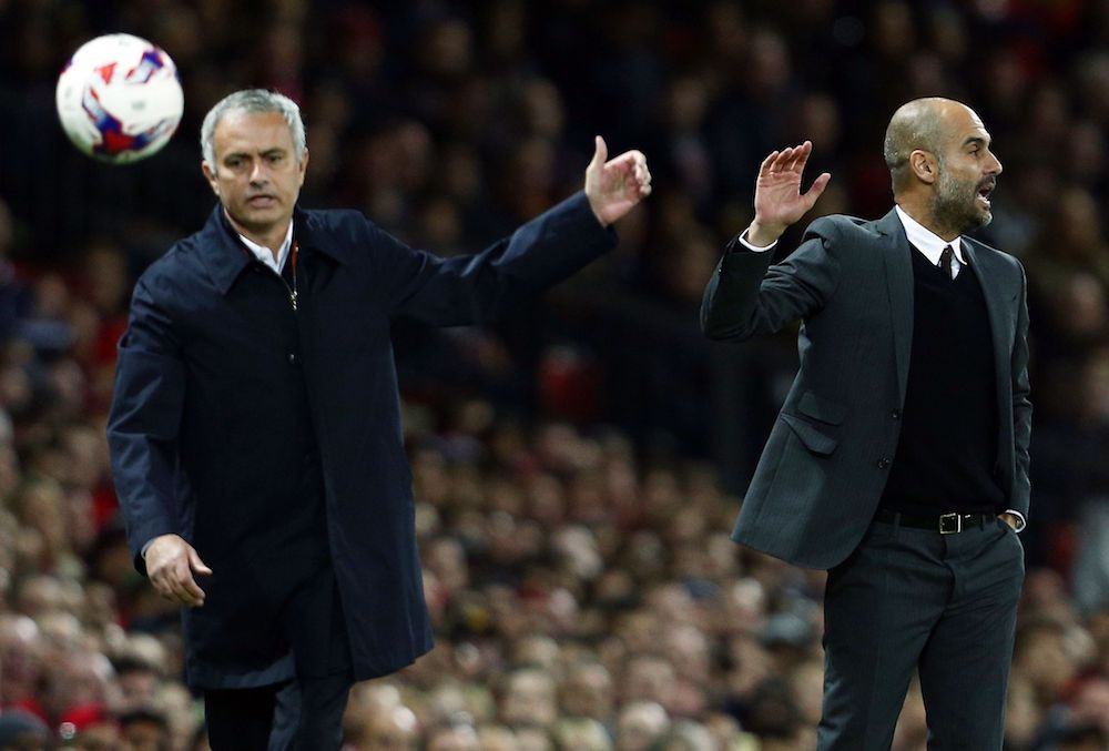 Manchester City manager Pep Guardiola and counterpart Jose Mourinho of Manchester United