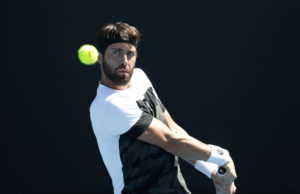 Nikoloz Basilashvili in the third round of the Australian Open 2018