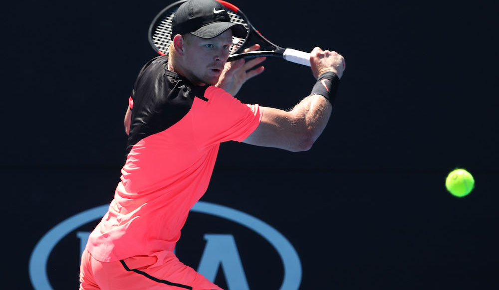Kyle Edmund in the first round of the Australian Open 2018