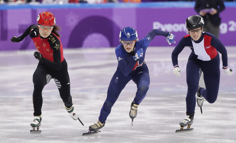 Elise Christie in the 500 meters short-track speedskating heat, Winter Olympics Pyeongchang, 2018