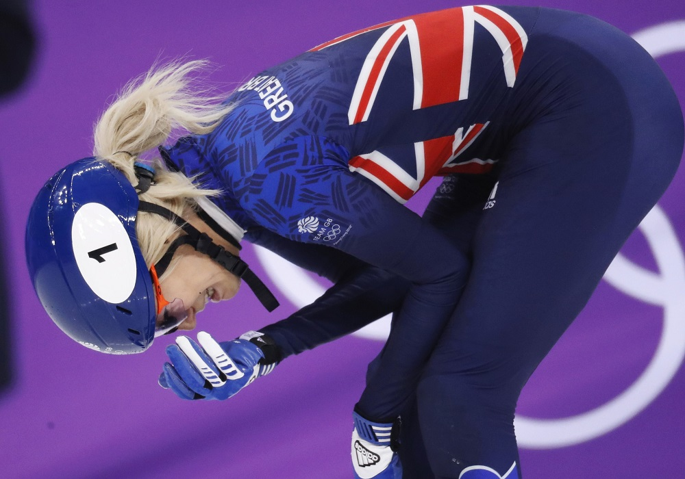 Elise Christie of Great Britain after falling in the final of the Short Track 500m, Winter Olympics Pyeongchang 2018