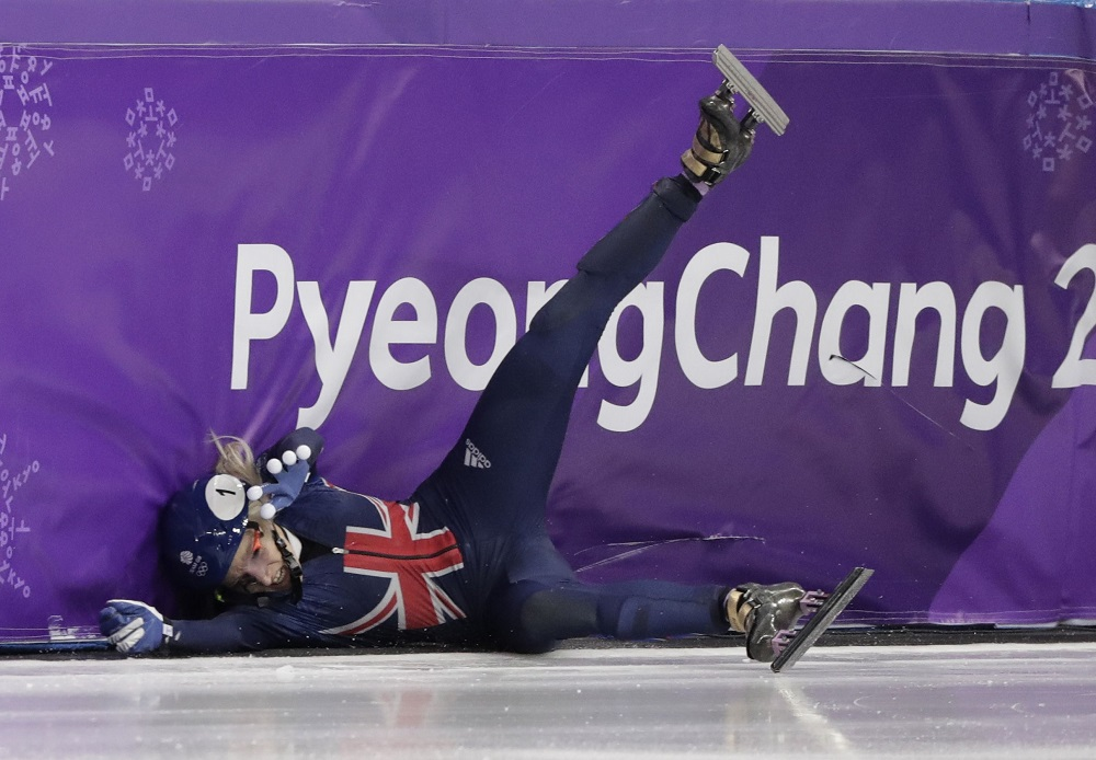 Elise Christie crashing into the barriers in the PyeongChang Winter Olympics 2018, 1500m Short Track SpeedSkating SF