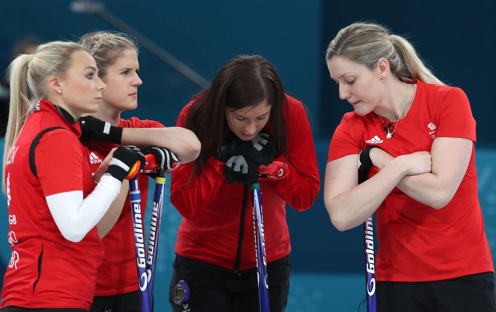 Team Muirhead react in the PyeongChang Winter Olympics 2018 Bronze Medal match