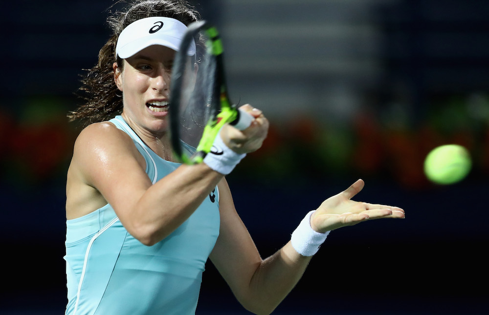 Johanna Konta in the second round of the WTA Dubai Duty Free Tennis Championship, 2018