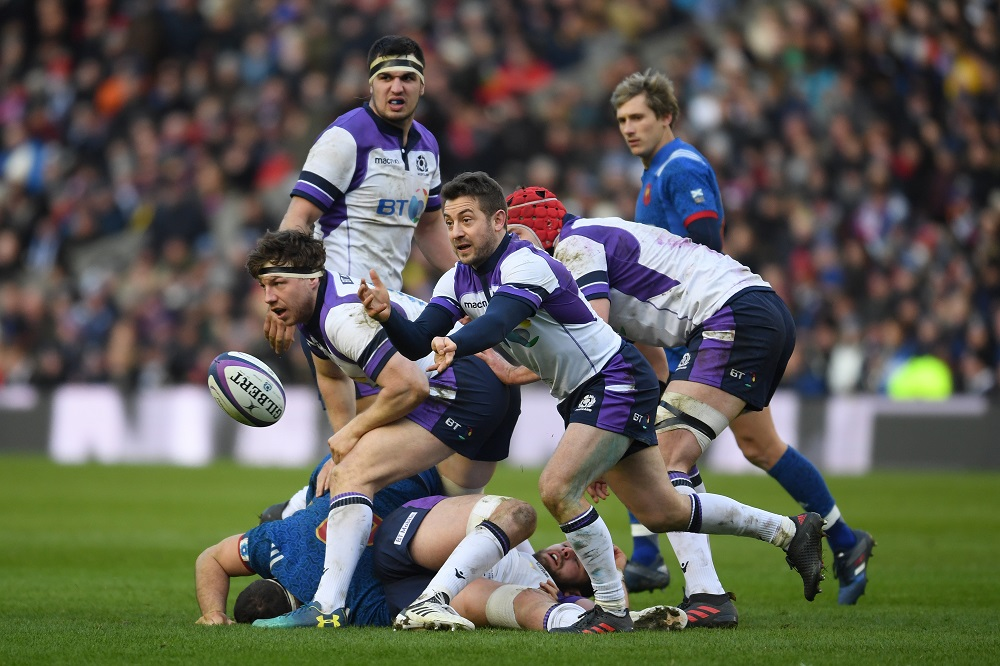 Grieg Laidlaw of Scotland in the Six Nations 2018, against France.