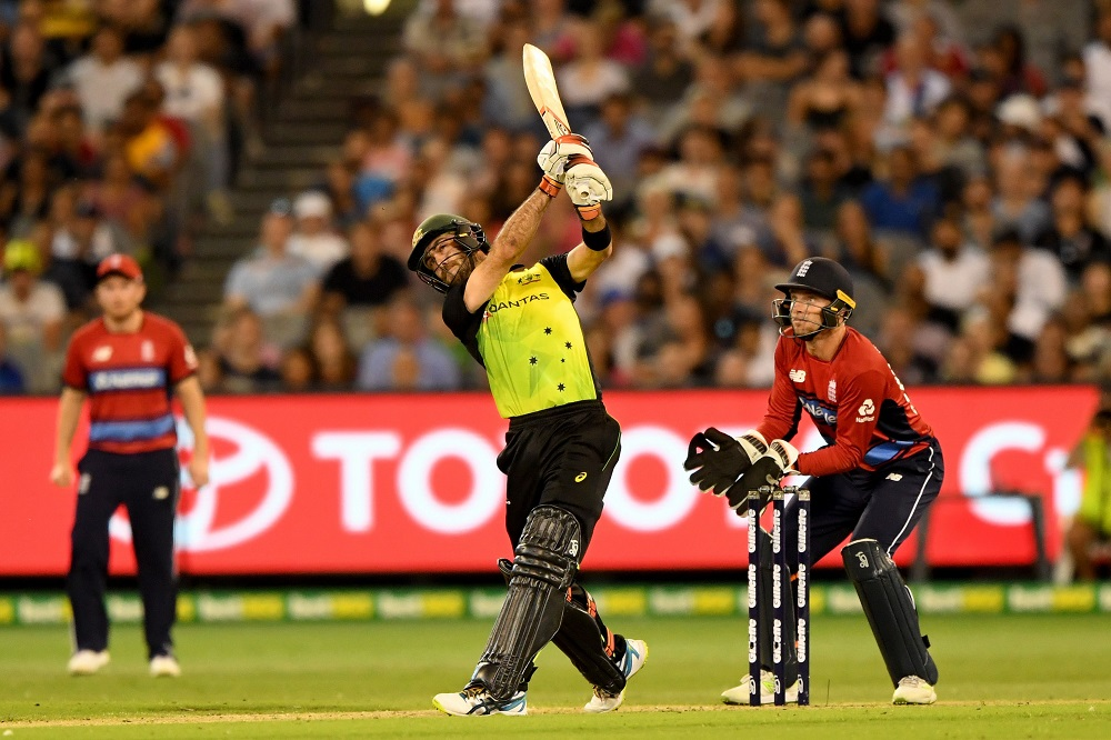 Glenn Maxwell of Australia in the International T20 against England, 2018