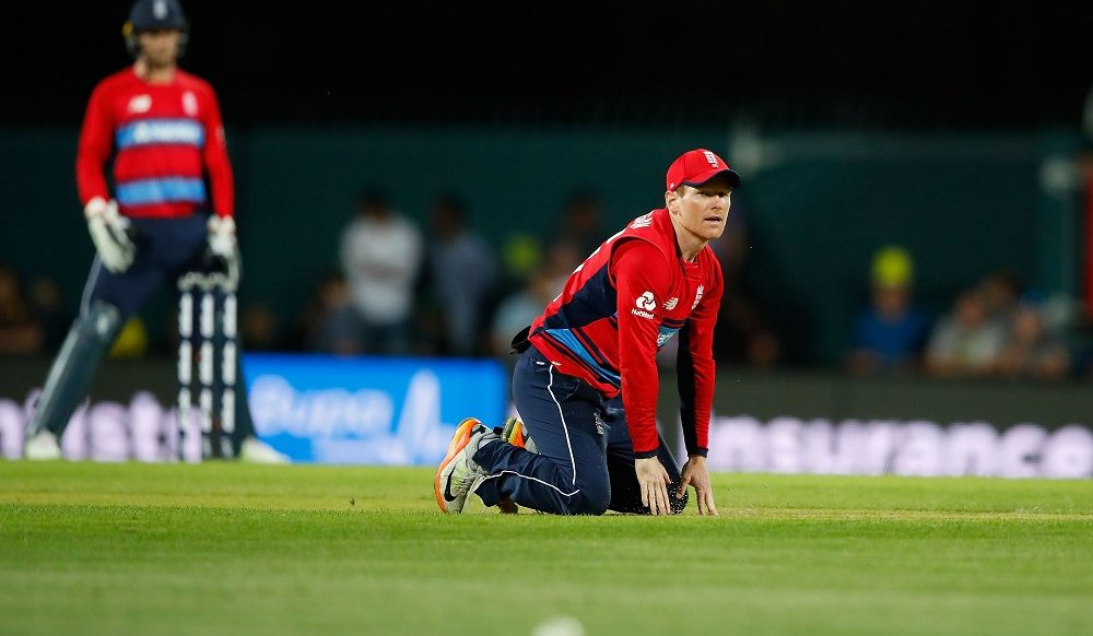 Eoin Morgan of England in the T20 against Australia, 2018