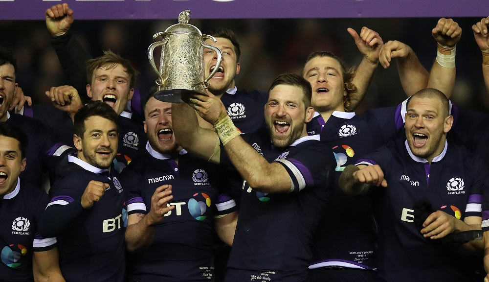 Scotland with the Calcutta Cup after beating England in the NatWest Six Nations, 2018