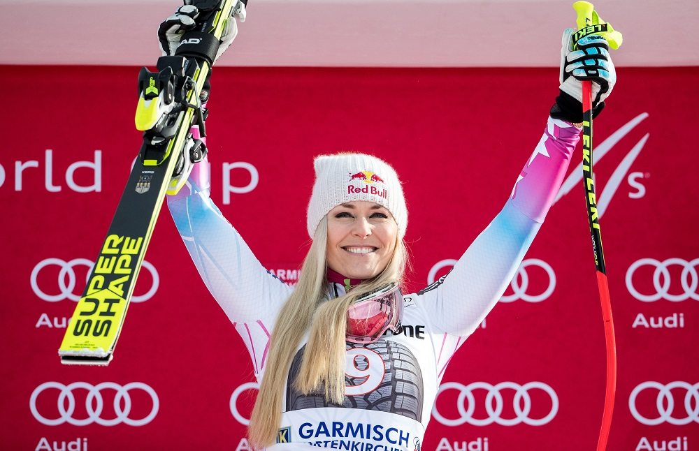 Lindsey Vonn in 2nd so far in women's downhill race