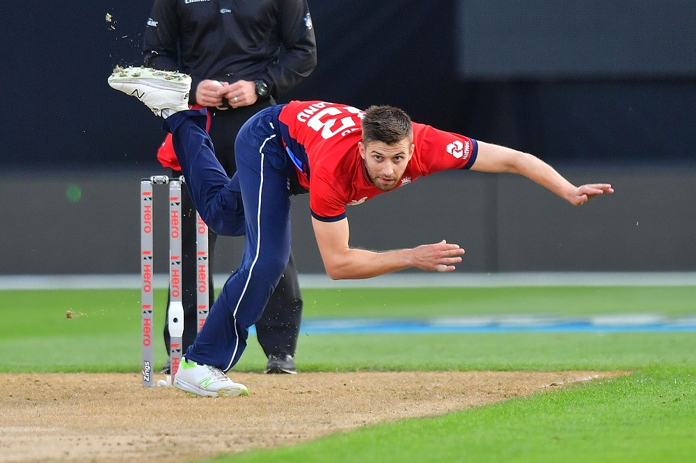 Mark Wood in the first T20 against New Zealand, 2018