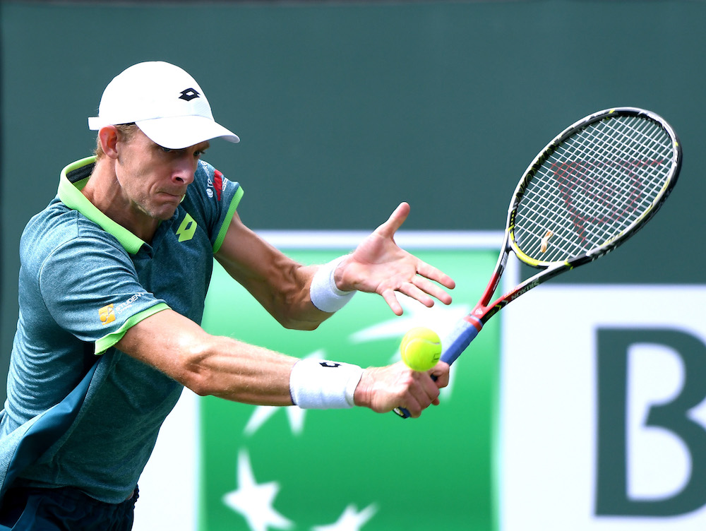Kevin Anderson in the fourth round of the BNP Paribas Open, ATP Indian Wells 2018
