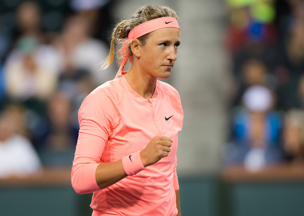 Victoria Azarenka in the first round of the BNP Paribas Open, WTA Indian Wells 2018