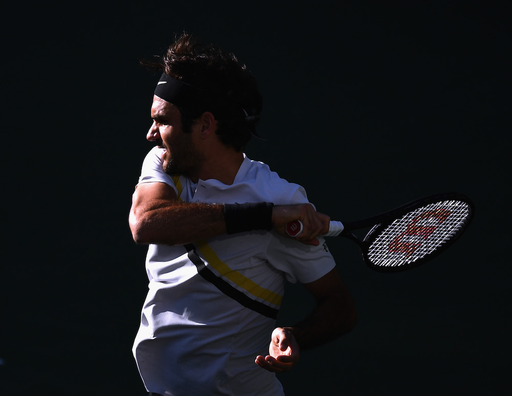 Roger Federer in the fourth round of ther BNP Paribas Open, ATP Indian Wells 2018