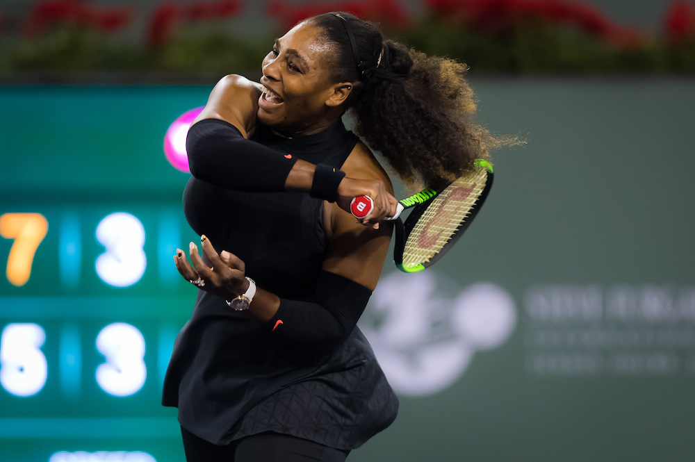 Serena Williams in the first round of the BNP Paribas Open, WTA Indian Wells 2018