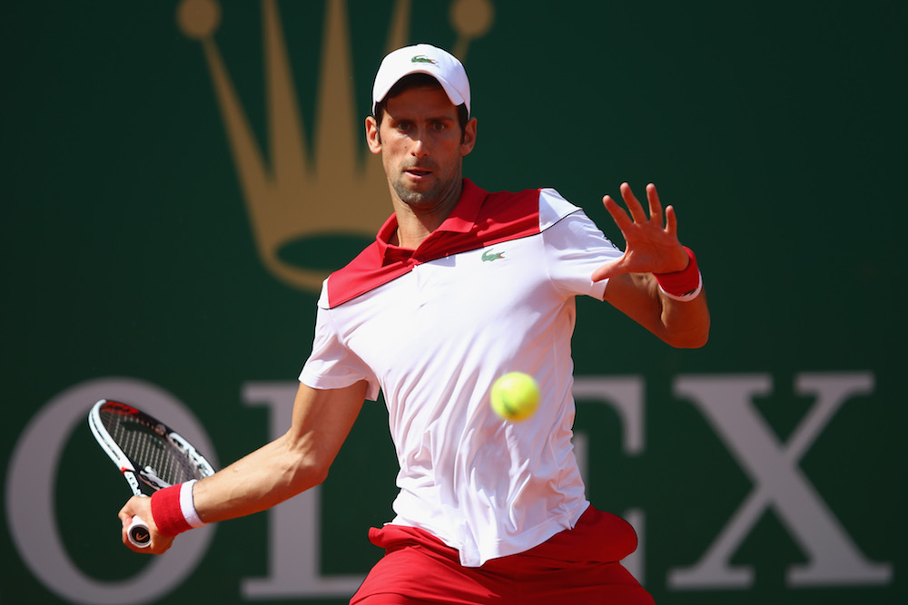 Novak Djokovic in the first round of the ATP Monte Carlo Masters, 2018