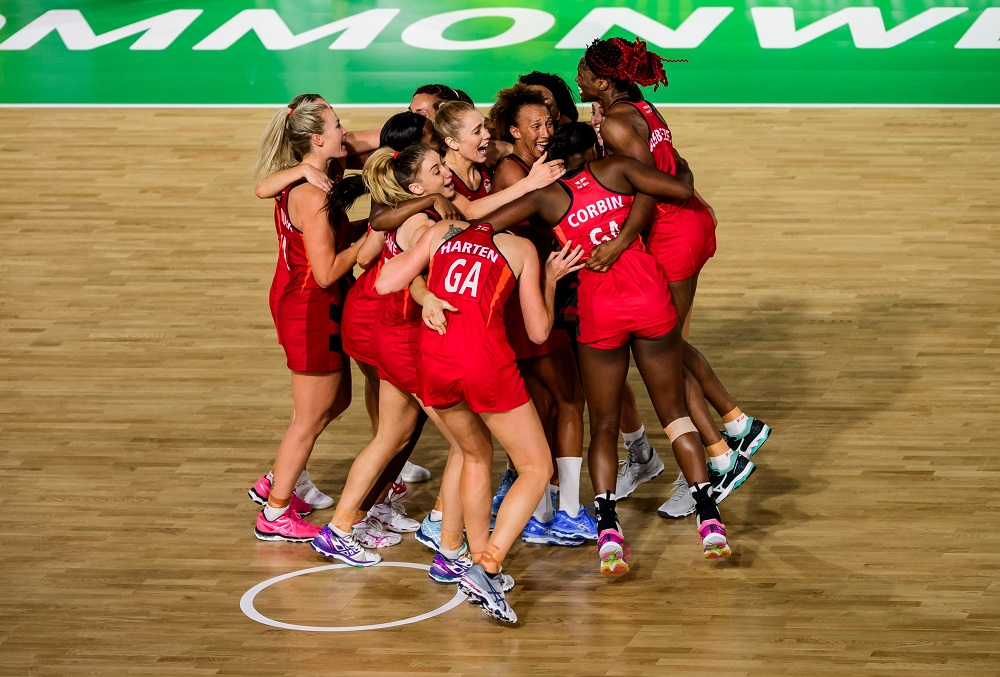 The England women's netball team celebrate after beating Australia in the Final of The Women's Netball on Day Eleven of the Gold Coast Commonwealth Games 2018.