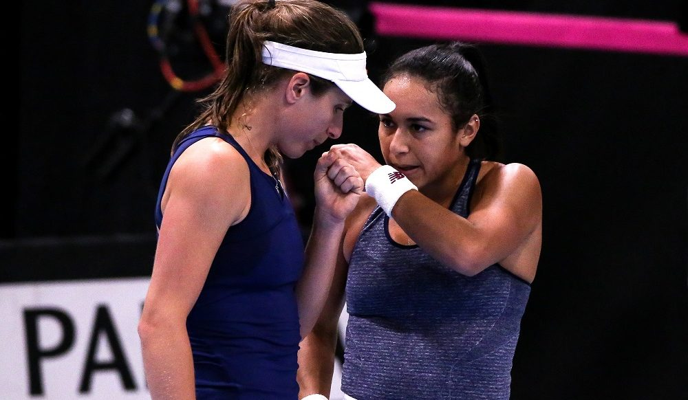 Heather Watson and Johanna Konta representing GB in the Fed Cup