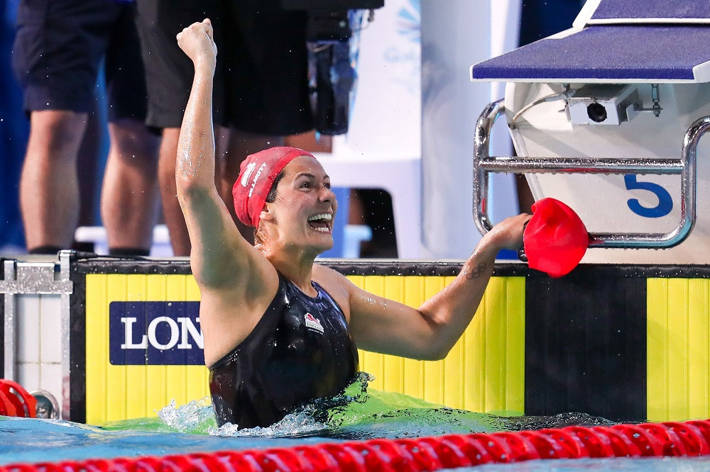 Aimee Willmott of England wins Gold in the Women's 400m Individual Medley final, Commonwealth Games 2018