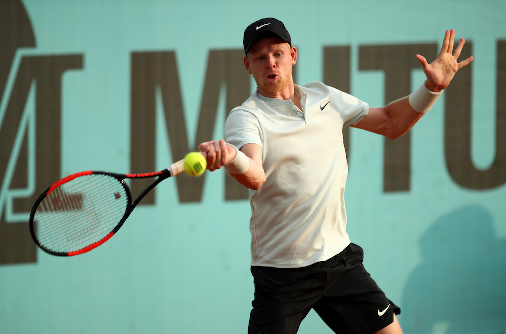 Kyle Edmund in the first round of the ATP Mutua Madrid Open 2018