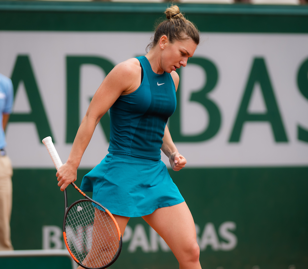 Simona Halep in the first round of Roland Garros, 2018