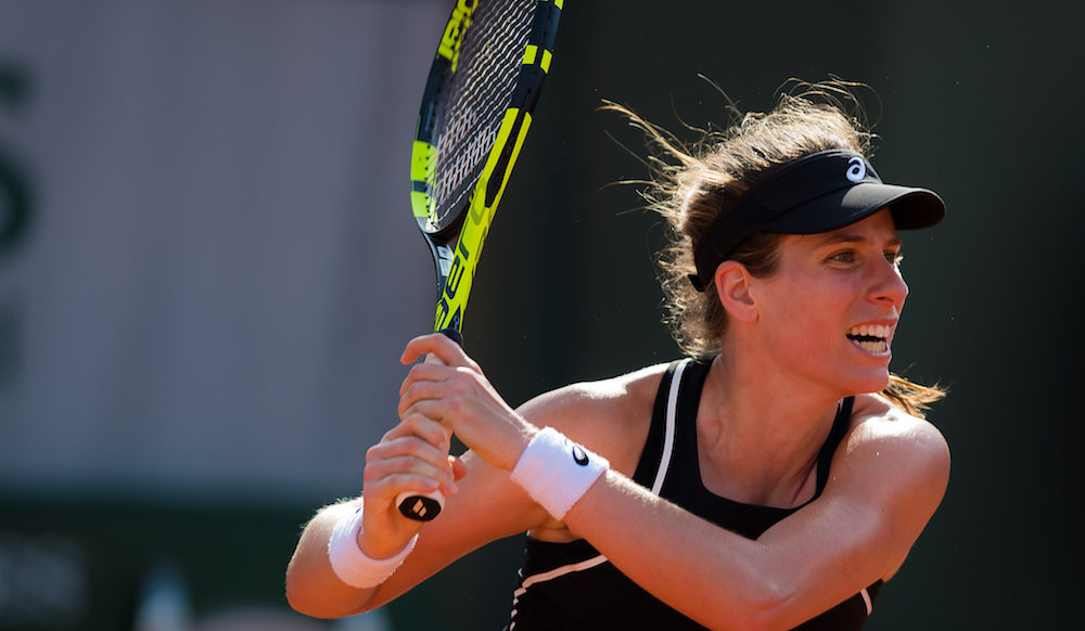 Johanna Konta in the first round of Roland Garros, 2018