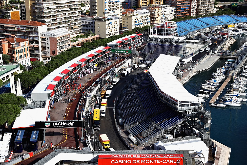 View of the Monaco Grand Prix pit lane,