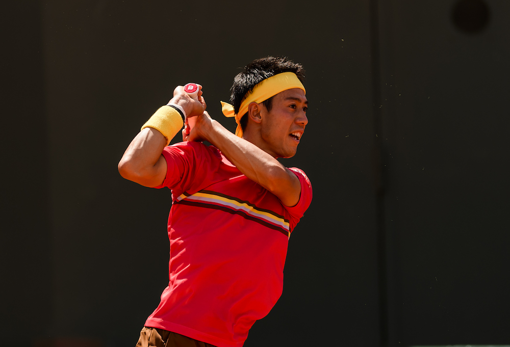 Kei Nishikori in the first round at Roland Garros, 2018