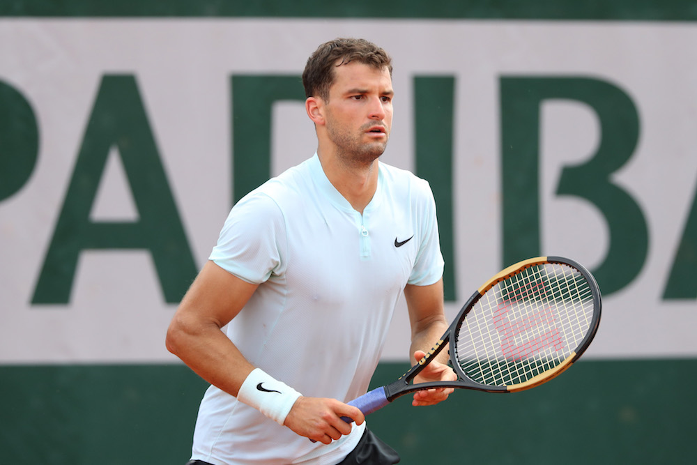 Grigor Dimitrov in the second round of Roland Garros, 2018