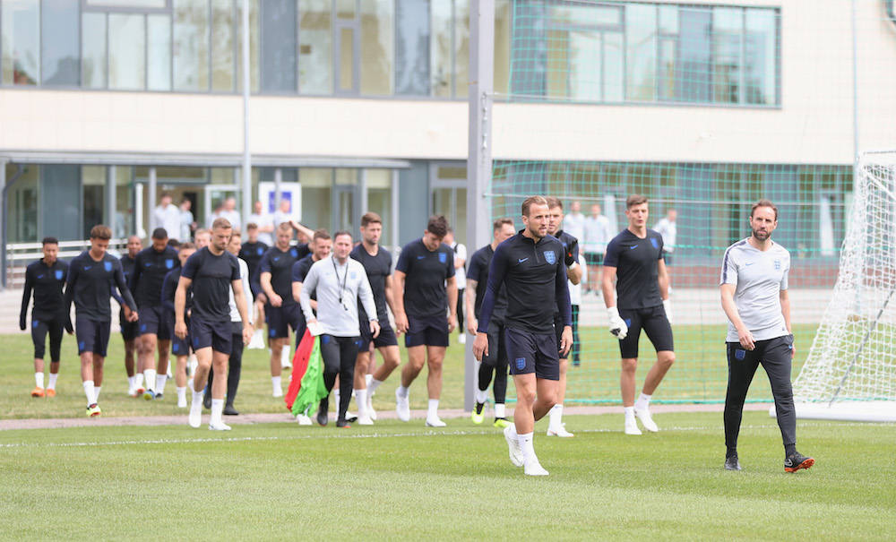 England manager Gareth Southgate and captain Harry Kane lead the team out ahead of the FIFA World Cup 2018