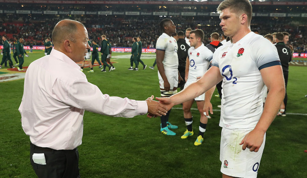 Owen Farrell and Eddie Jones after the first test in South Africa, 2018
