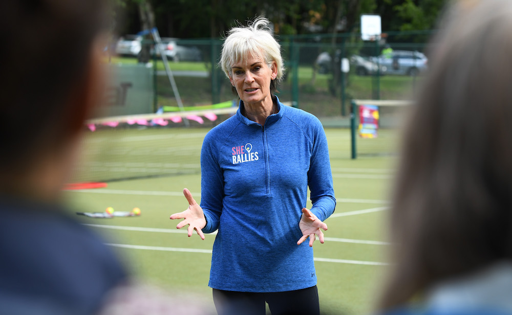 Judy Murray leading the She Rallies initiative at the Nature Valley Classic, Birmingham 2018
