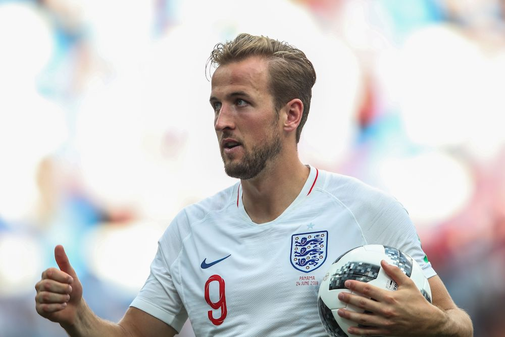 England' s Harry Kane with the Match Ball after scoring a hat trick England v Panama