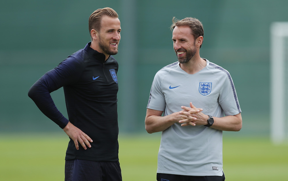 England manager Gareth Southgate and captain Harry Kane during a training session ahead of the FIFA World Cup 2018