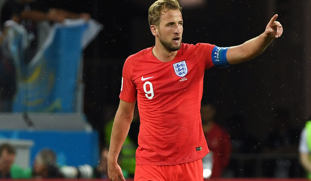 Harry Kane in the World Cup 2018 match between England and Tunisia