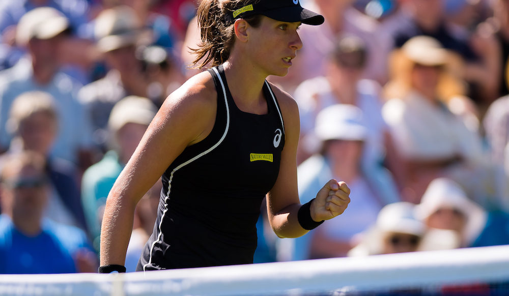 Johanna Konta in the first round of the Nature Valley International, WTA Eastbourne 2018