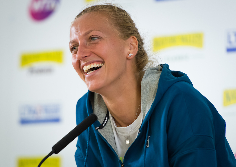 Petra Kvitova in a press conference after her quarter-final at the Nature Valley Classic, WTA Birmingham 2018