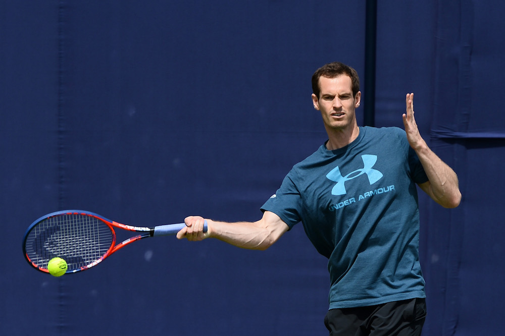 Andy Murray in a practice session at Queen's Club, 2018