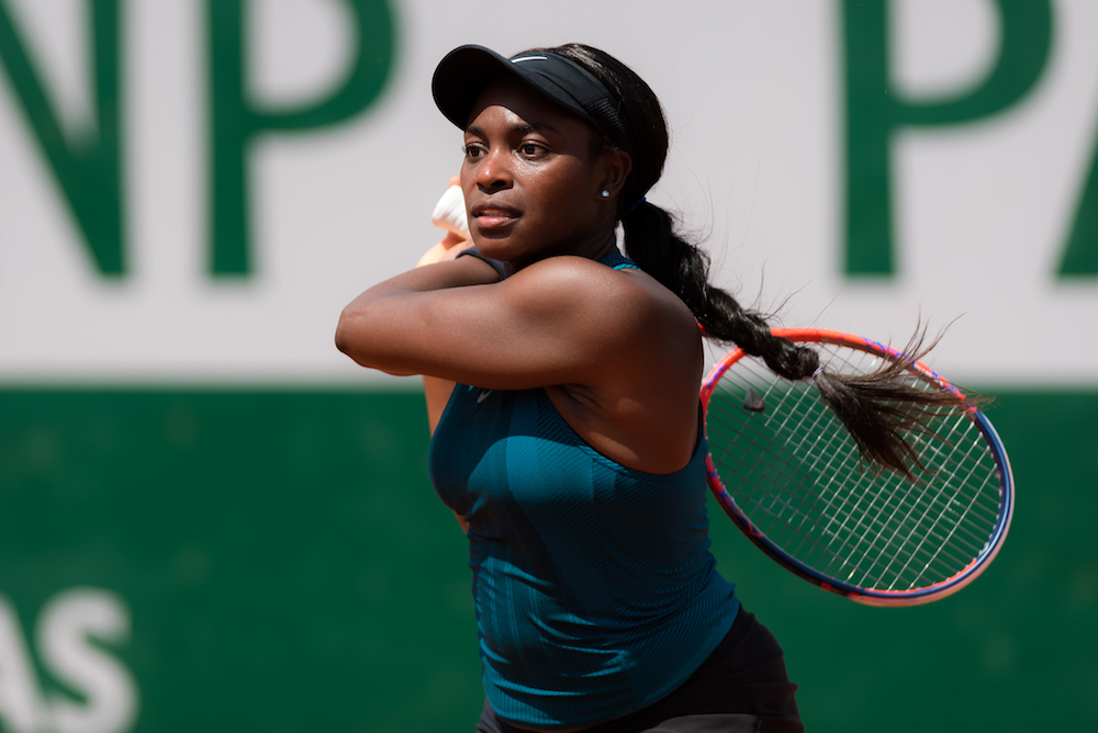 Sloane Stephens in the first round of Roland Garros, 2018