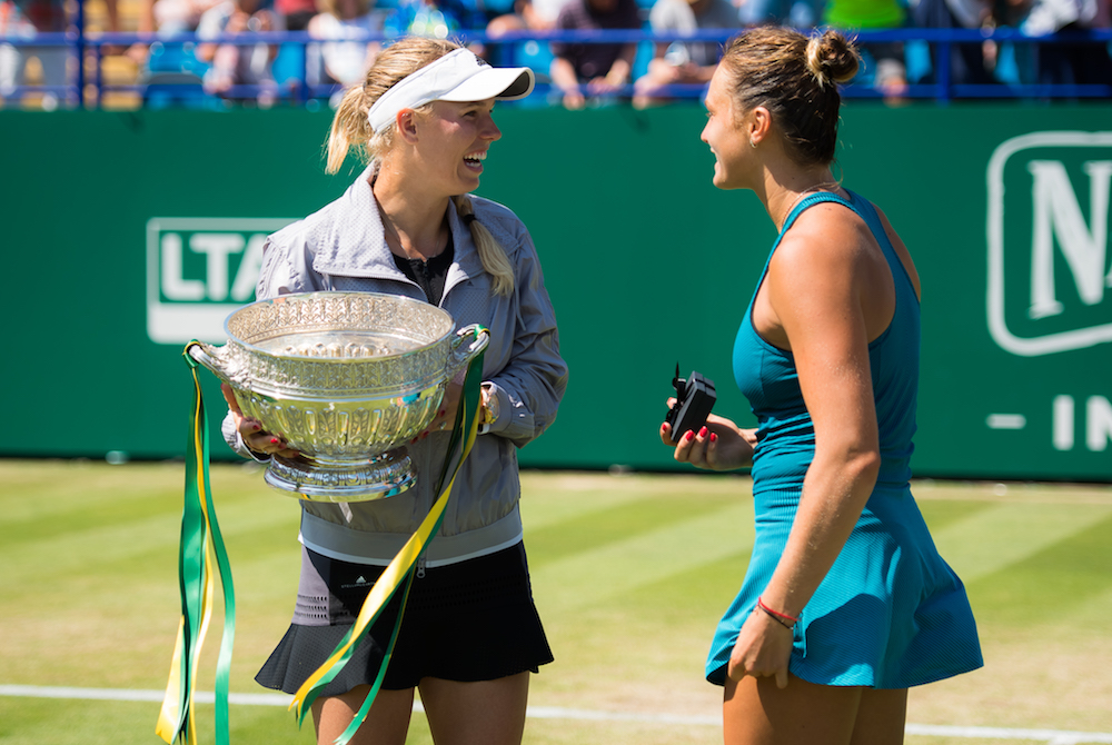 Caroline Wozniacki and Aryna Sabalenka at the Nature Valley International, WTA Eastbourne 2018