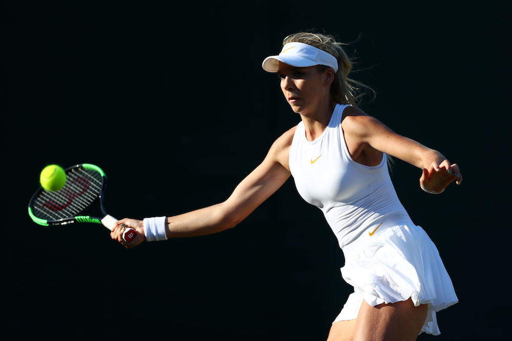 Katie Boulter in the first round of Wimbledon 2018