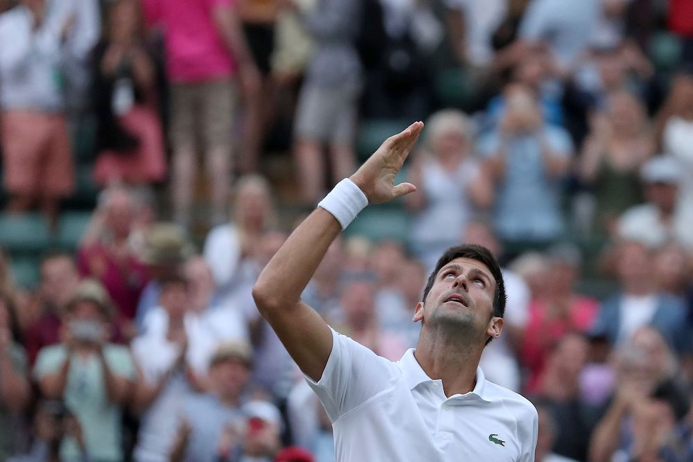 Novak Djokovic in the forth round of Wimbledon 2018