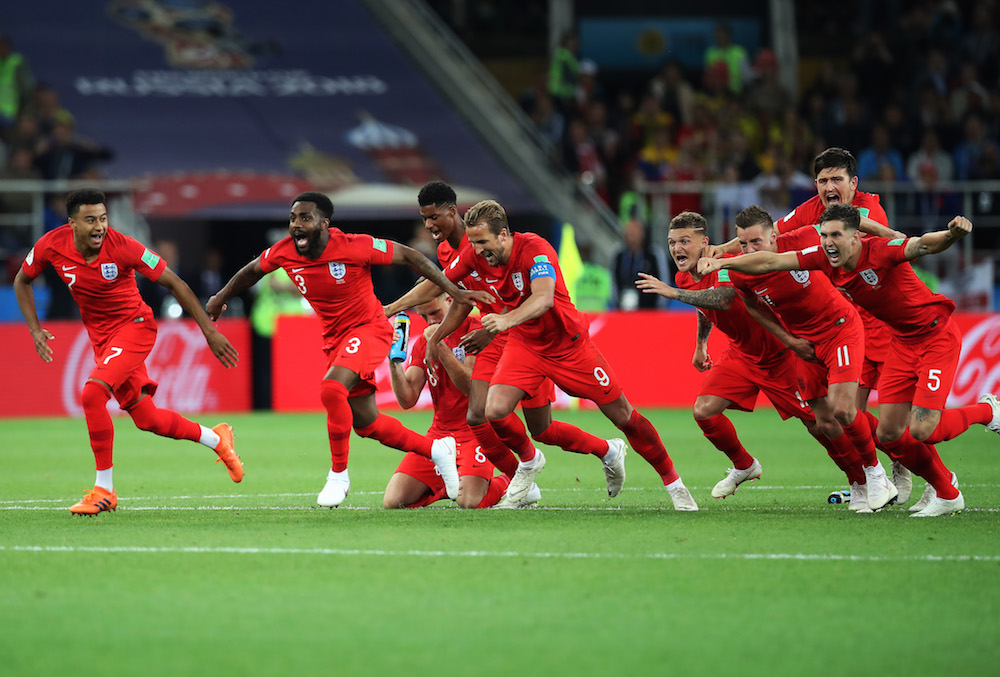 England celebrate after beating Colombia in the world Cup 2018