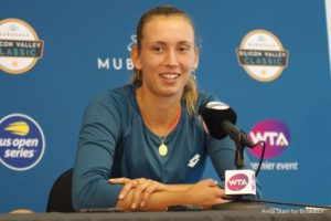 Elise Mertens at the Mubadala Silicon Valley Classic Media All Access Hour