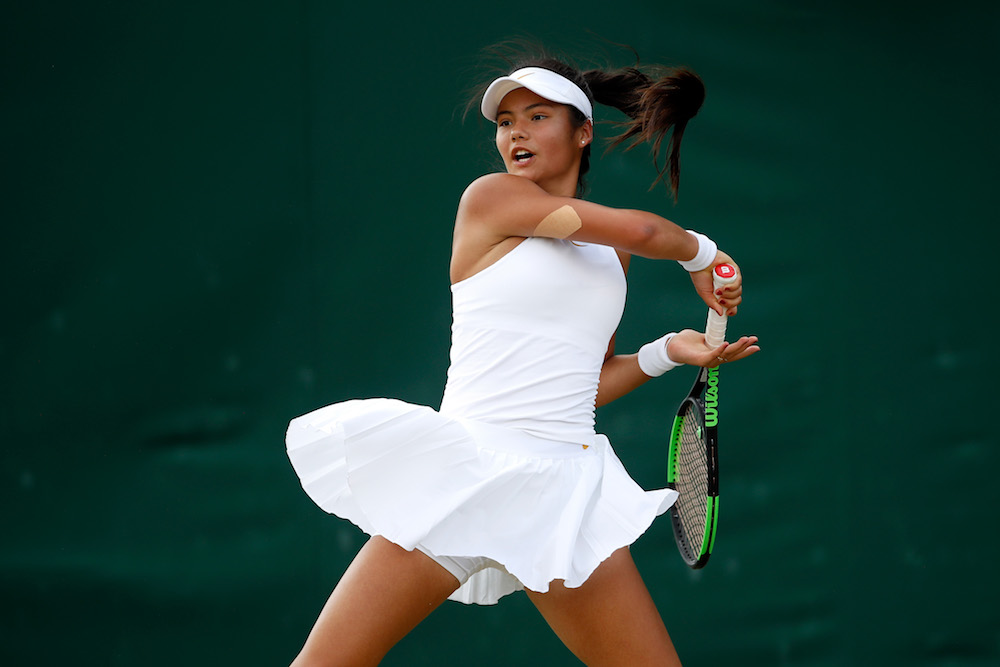 Emma Raducanu in the Girls' Singles Championships, Wimbledon 2018